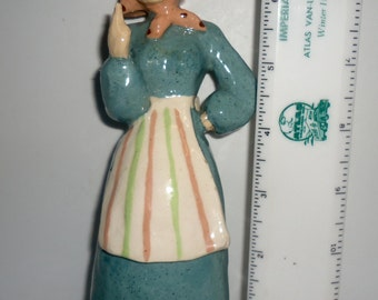 California Jean Manley Hand Formed Pottery Figurine Lady Pointing Finger