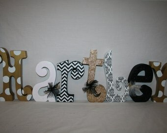 Gold nursery decor 7 letter set Gold nursery letters Black and Gold decor Black and gold letters Gold baby name letters Name sign