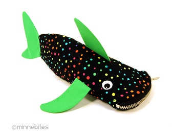 Shark Pouch by MinneBites / Handmade Shark Pencil Case - Green Rainbow Fish Bag - Shark Birthday Party - Kids Art Gift Bag - Personalized
