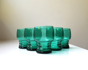 Mid Century Turquoise Cordial / Shot Glasses Ribbed Set of 5 Art Deco Imperial Glass Shaeffer