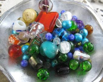 Glass Bead Lot // Bead Destash Mix // Free Domestic Shipping // Jewelry Making // Brand New // Mixed Bead Lot //