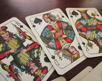 13 vintage Playing Cards - spades, black, king, 1940s, 1950s