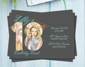 Birthday Invitation | 18th Birthday Invitation | Mint, Glitter, and Gray | 5x7  Photo Card | Instant Download | PSD File | Printable