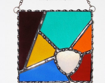 Stained Glass Suncatcher - Abstract Design, Multi Colored Water Glass, Faceted Glass Jewel