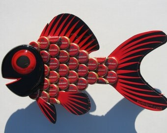 Goldfish Metal Bottle Cap Fish Wall Art made with Budweiser Bottlecaps