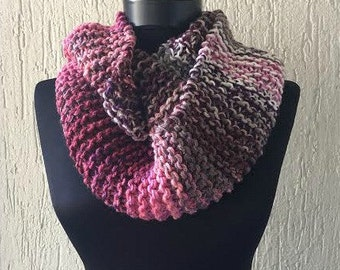 Knitted Infinity Scarf - Women's Accessory - Ombre Scarf - Color Block - Loop Scarf - Fall Fashion - Chunky Circle Scarf - Infinity Cowl