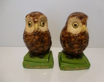 Vintage Owl Bookends Ceramic Owl Bookends 1970s Retro Bookends