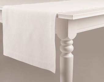 Exceptional White Table Runner Made Of Pure Linen Classic Hem Mitered Corners Custom  Color Soft Table Linens