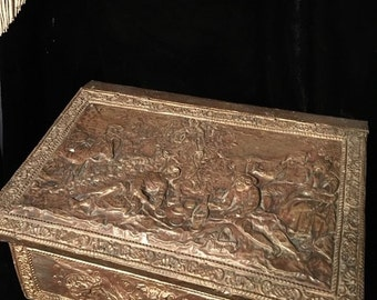 Antique Wood Box Embossed with Devil Face and Medieval Scenes Old Document Box Scuttle at Gothic Rose Antiques