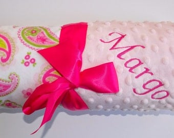 Monogrammed Minky Baby Blanket - Paisley, Pink and Green, Personalized