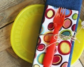 Placemat and Napkin Set for Kids  - Colorful Circles Napkin with a Denim Placemat