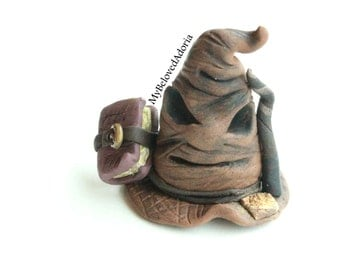 Polymer Clay- Harry Potter inspired Sorting Hat with spell book and wand - Ready to Ship
