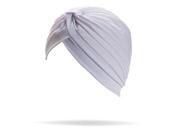 Turban white full headband, headpiece, hair turban, boho headband