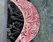 Speckled Rose Ceramic Crescent Bib Pendant