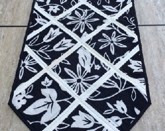 Modern Quilted Table Runner, Reversible, Graphic Flowers SALE