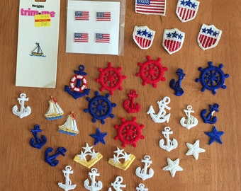 nautical boat ship appliques patriotic stars America U.S.A. sew on decal vintage lot