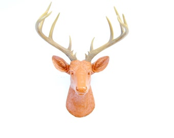 Large Deer Head - Burnt Orange Deer Head Wall Mount with Natural Antlers - 14 Point Stag Head Antlers Faux Taxidermy ND2000