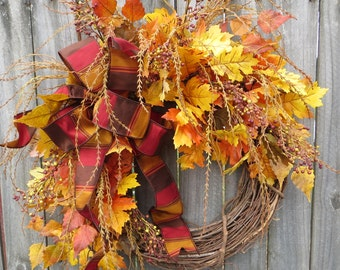 Fall Wreath, Fall Oak Wreath, Fall Berry Wreath, Fall Home Decoration