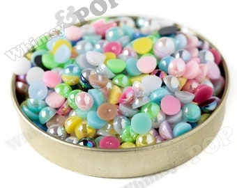 200 - MIXED Colors AB Pearl Flatback Resin Decoden Cabochons, Half Pearl Cabochons, Flat Pearls, 6mm FlatBack Pearls,  6MM (R4-147)