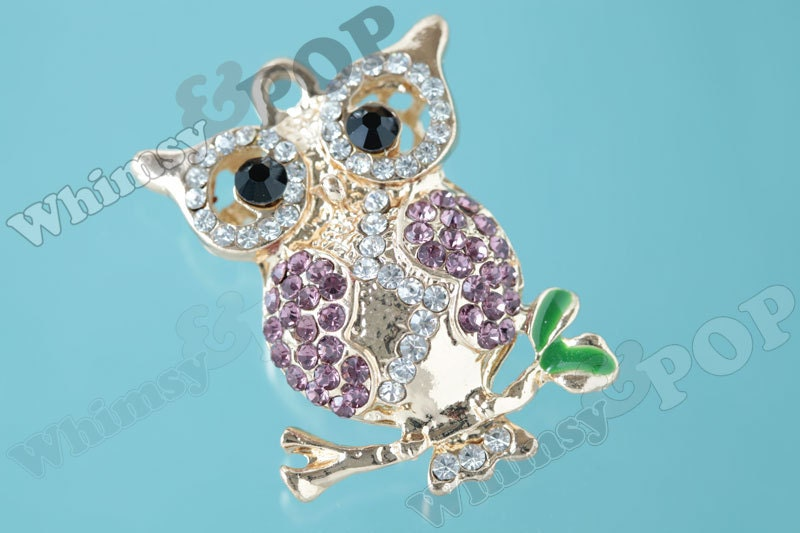 1 Large Gold Tone Purple Owl on Branch Rhinestone Charm Owl