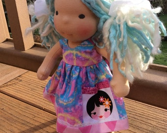 """Waldorf doll clothes, 10-12"""" Peace Sign, Hippie, pocket"""