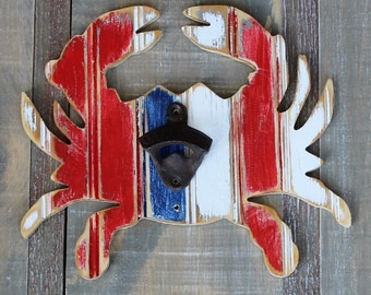 Wooden Crab Bottle Opener, Distressed Bead Board, all colors available