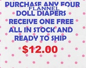BUY  4 DIAPERS #1 #2  #3  and get one  FREE  my choice fits bitty baby baby alive baby all gone sips cuddles get better bailey american doll