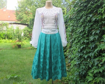Full Skirt / Green  Full Skirt / Emerald Full Skirt / Skirt Vintage / Size EUR42 / UK14