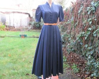 Long Cotton Dress / Laura Ashley / Dress Vintage / Maxi / Navy Long Dress / Textured Cotton  / Size EUR38 / UK12 / US8