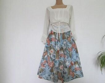 Full Skirt Skirt Vintage / Size EUR40 / UK12 / Poly / Elastic Waist / Floral