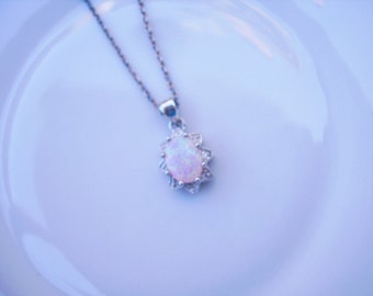 Vintage Sterling Silver and Opal Pendant with Sterling Silver Chain