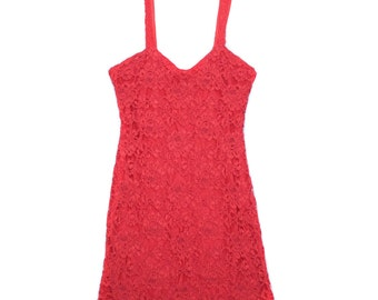 Red Lace Bodycon Dress - Size M