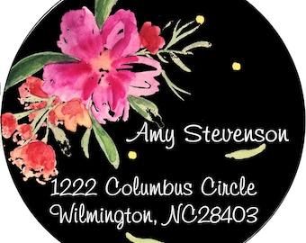 Floral Flower Return Address Labels Preppy Flowers Summer Adhesive Mail Family Party Celebrate Celebration Sticker Sticky