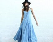 Summer SALE Flare Maxi dress, light denim.