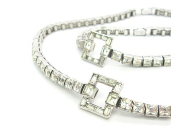 Art Deco Necklace Set. Choker & Bracelet. Dorsons Sterling Silver Channel Set Princess Cut Crystal Wedding Jewelry. Vintage 1940s Rhinestone