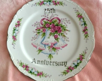 Beautiful Porcelain Plate with Roses, 25th Anniversary Plate, Shabby Chic Plate, Romantic Roses Plate, Wedding Plate