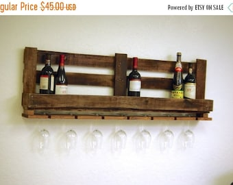 "Fall Sale 48"" 12 bottle Large Reclaimed pallet Wine rack rustic kitchen farmhouse home decor Furniture oak walnut boho primitive with glass"