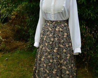 Vintage 70s floral print black and  autumnal tones midi skirt size M