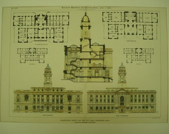 City Hall, Worcester, Massachusetts, 1896, Carrere & Hastings, Architects. Hand Colored, Original Plan, Architecture, Vintage, Antique