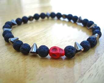Men's Rocker Bracelet with Black lava, Gunmetal Spikes, a Red Howlite Skull - Steampunk Man Bracelet - Rock Man Bracelet - Goth Man