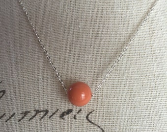 Coral floating Pearl necklace . Wedding jewelry