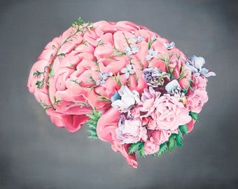 Floral Anatomy: Brain Print of Oil Painting - Anatomical Art Print - Human Body - Medical Art