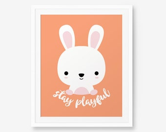 SALE 20% OFF Stay Playful Bunny Print, Nursery Art, Nursery decor, Baby Cute Animal Wall Art, Children Animal Art, Kids Room Decor
