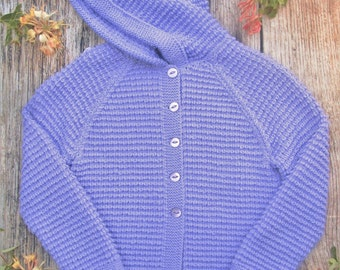 Little girl's childs hand knitted purple cashmere cotton blend button jacket cardigan sweater coat with a pixie hood.