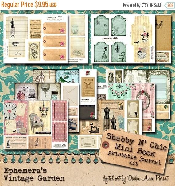 HALF PRICE Shabby N Chic - Printable Junk Journal Kit
