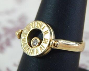 14k Gold Clock Sundial Ring