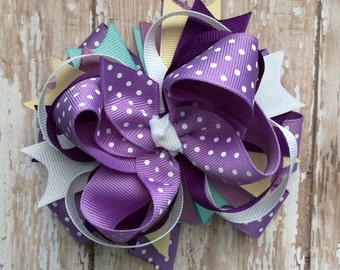 M2m made to match Sew Sassy Paisley Petals girls boutique style hair bow