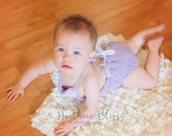 knit Romper, sitter set, 6 month romper, lace romper, girls romper, simple romper, Photo prop, Photo set