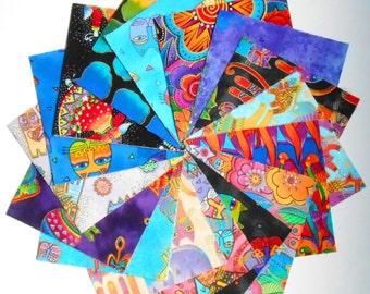 "LAUREL BURCH ASSORTMENT 32 - 5"" Quilt Charm Squares 16 Patterns Cats Bird Fantastic Felines Fabric"