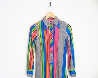 Vintage 1960s Shirt. Striped Mod Shirt. Geometric Print Psychedelic Shirt. 60s Hippie Shirt. Flower Power. Op Art Mod Disco Shirt.